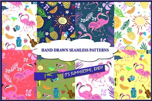 Vector summer seamless patterns.