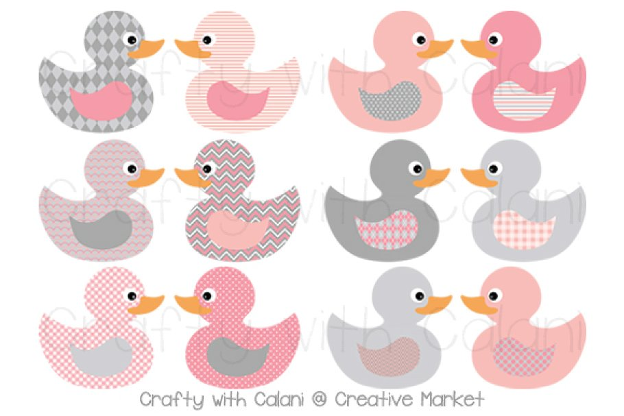Pink & Gray Rubber Duck