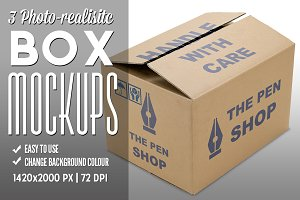 3 Photo-realistic Box Mockups