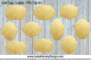Gold Tags - Gold Label Clip Art