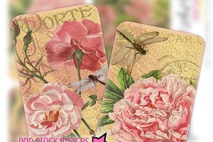 Shabby Chic Ephemera Floral Cards