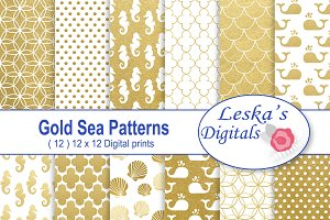 Gold Sea Patterns - Digital Paper