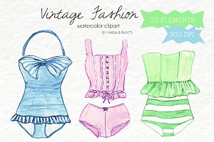 Watercolor Clip Art - Fashion