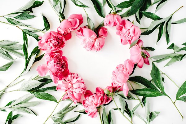 Floral heart with peonies