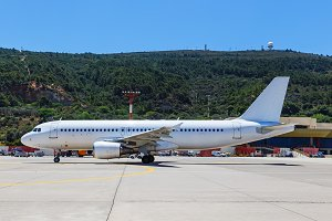 aircraft was taxiing to the runway at the airport of Rhodes sunny day