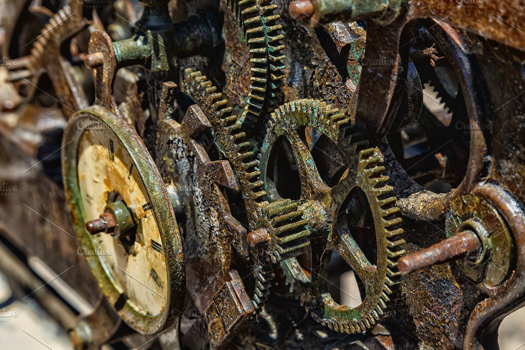 Close-up of an ancient clock gears metal mechanism