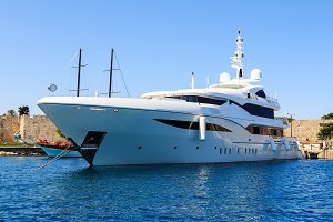 luxury yacht in the Dodecanese island of Rhodes, Greece.