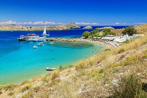 scenic Rhodes island, Lindos bay and beach. Greece