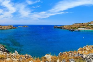 panorama St. Paul Bay near Lindos, Rhodes cluoads sunny day
