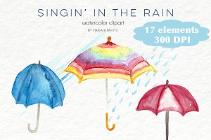 Watercolor Clip Art - Umbrellas,Rain