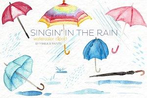 Watercolor Clip Art - Umbrellas,Rain