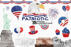 Patriotic - Watercolor Cliparts
