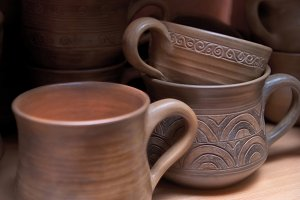 Many handmade old clay pots