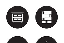 Bedroom furniture icons. Vector