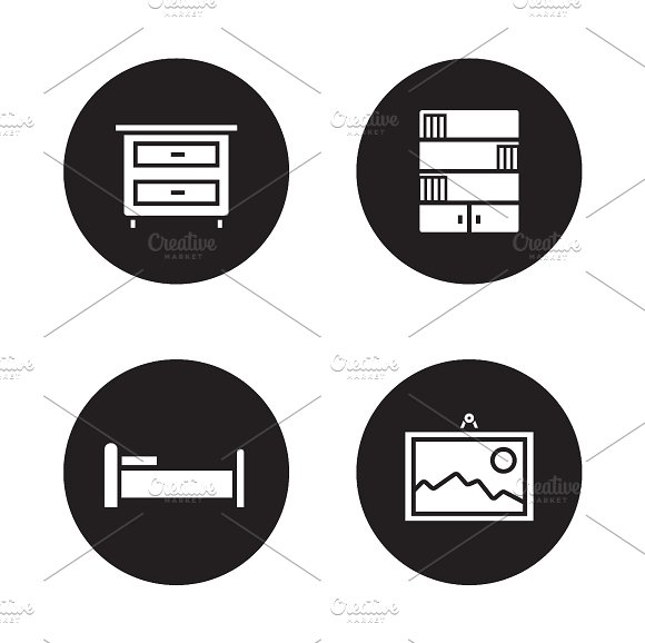 Bedroom furniture icons. Vector - Icons