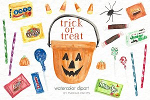 Watercolor Clip Art - Halloween