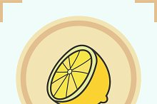 Lemon half color icon. Vector