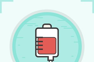 Blood bag color icon. Vector