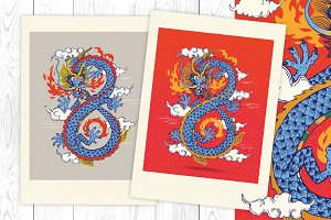 Stylized Colorful Chinese Dragon