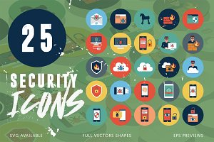 25 Security Flat Icons