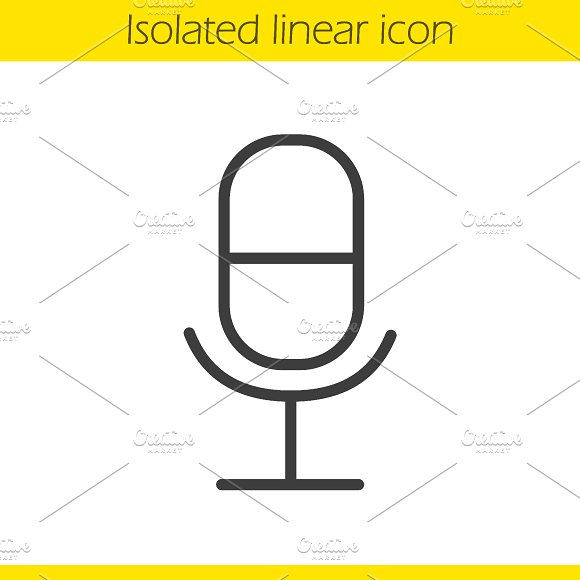Microphone linear icon. Vector