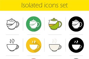 Tea icons set. Vector