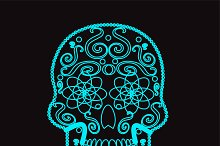 Skull vector icon neon