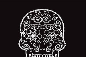 Skull icon vector white color
