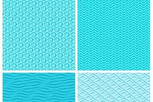 Seamless blue wave patterns