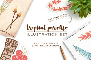 Tropical Paradise Illustration Set