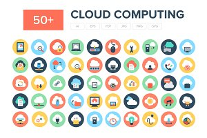 50+ Flat Cloud Computing Icons
