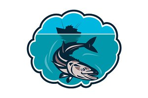 Cobia Fish Fishing Boat Bubble Retro