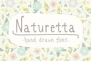 Naturetta. Cute hand drawn font