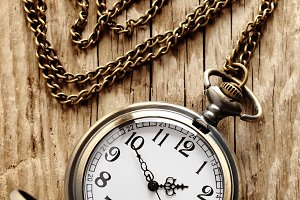 Vintage pocket watch on chain