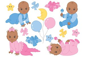 African American Infant Babies Set