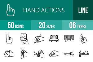 50 Hand Actions Line Icons