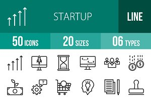 50 Startup Line Icons