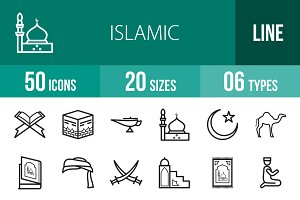 50 Islamic Line Icons