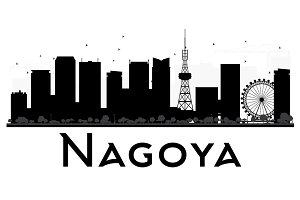 Nagoya City Skyline Silhouette