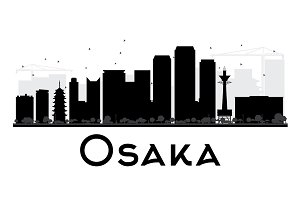 Osaka City Skyline Silhouette