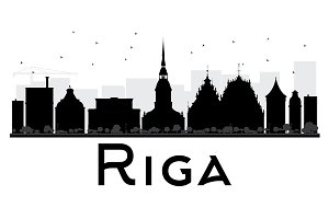 Riga City Skyline Silhouette