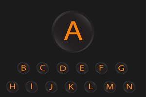 neon buttons font orange
