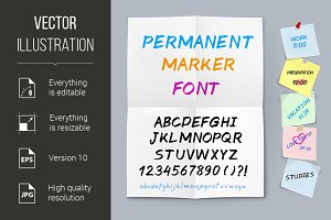 Sticker paper permanent marker font
