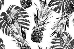 Pineapples, jungle leaves pattern