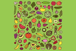 Vegetarian Set + 2 Seamless Patterns