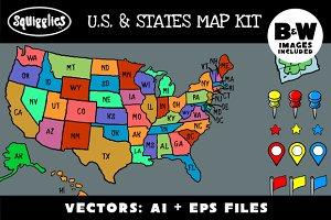 U.S. & States Map Kit