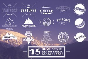 15 New Style Retro Badges, Labels