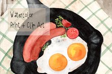 Watercolor Breakfast Print+Clipart
