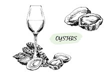 Oysters and wine.