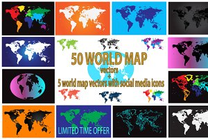 55 World map collection vectors